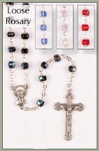 Ruby Glass Rosary Beads with Caps