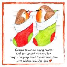 CR005 Touch So Many Hearts Christmas Robin Card