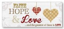Faith, Hope and Love Art Deco Wood Plaque