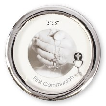 C46605 First Holy Communion Round Frame Silverplat