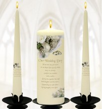 White roses on Ivory Wedding candle Boxed Set 25cm