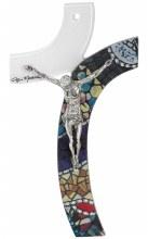 Mosaic Mattiolo Glass Crucifix with Silver Corpus (25cm)