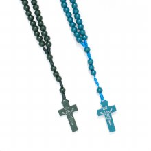 Green and Turquoise Wooden Rosary Beads