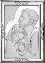 Sterling Silver Holy Family Icon 24 x 18cm