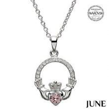 Claddagh Birthstone Necklace With Swarovski Crystals (June)