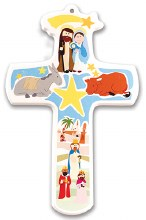 Children's Nativity Wood Cross