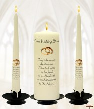 Wedding Day Candle with Gold Rings Design