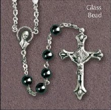 Glass Hematite Rosary Beads