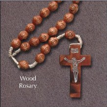 Wooden Corded Carved Rosary Beads
