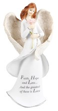 Faith Hope and Love Message Angel 20cm