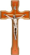 Walnut Wood Crucifix with Silver Corpus (20cm)