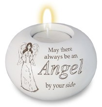 White Resin Angle Candle Holder with Tea Light