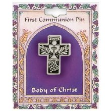 Chalice in Cross First Holy Communion Brooch