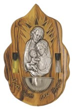 Holy Family Olive Wood Plaque with Holy Water Font