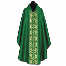 Green Chasuble with printed Eucharistic motifs