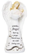 White Guardian Angel with Baby Girl Statue