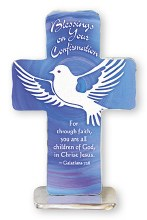 Blue Dove Confirmation Artmetal Cross