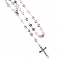 Swirl Coloured Pearl Rosary Beads