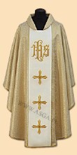 1025 Cream and Gold IHS  Chasuble