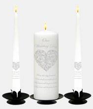 Vintage Heart Silver and White Wedding Candle