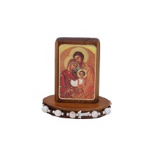Holy Family on walnut Wood Base with White Bracelet