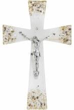 Gianicolo Murano Glass Crucifix with Silver Corpus (25cm)