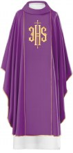 Purple  Chasuble Embroidered Covex IHS Symbol