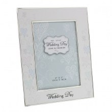 "Love & Cherish Silver Plated Wedding Photo Frame 5"" x 7"""