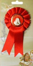 Red Confirmation Rosette with Medal