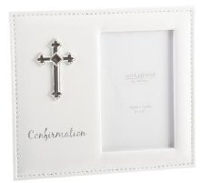 White Confirmation Photo Frame with Silver cross