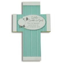 Little Lamb of God Aqua Wooden Wall Cross.