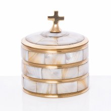 Brass Host Container with Pearl Shell (7cm x 6cm)