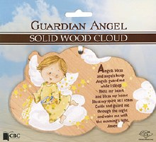Solid Wood Guardian Angel Plaque