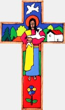Traditional Good Shepherd Hand Painted Wooden Cross (38cm)