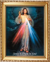 83353 Divine Mercy Picture in Gold Frame 35x 45cm
