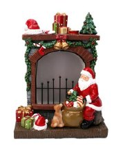 690205 Festive Fireplace with Santa 27cm