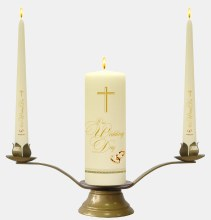 Ivory Plain Rings and Cross Wedding Candle