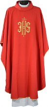 Red  Chasuble Embroidered Covex IHS Symbol