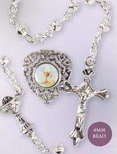 Silver Filigree first Holy Communion Rosary