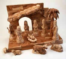 13 Piece Hand Carved Olive Wood  Nativity Set