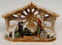 Classic Ceramic Nativity Set with Tea Light