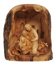Natural Olive Wood Shelter with Holy Family