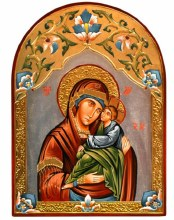 Arch Madonna and Child Hand Painted Icon (32 x 44cm)