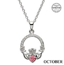 Claddagh Birthstone Necklace With Swarovski Crystals (October)