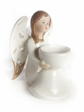 8903 Cream Porcelain Angel Tes Light Holder 12cm