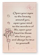 Open your Eyes Glass Plaque
