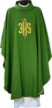 Green Chasuble Embroidered Covex IHS Symbol