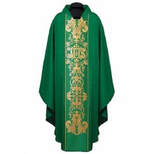 Green Chasuble with Gold Printed ihs symbols