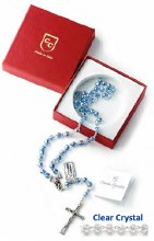 Clear Crystal Rosary Beads in Gift Box