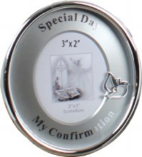 Silver Plated Round Confirmation Photo Frame
